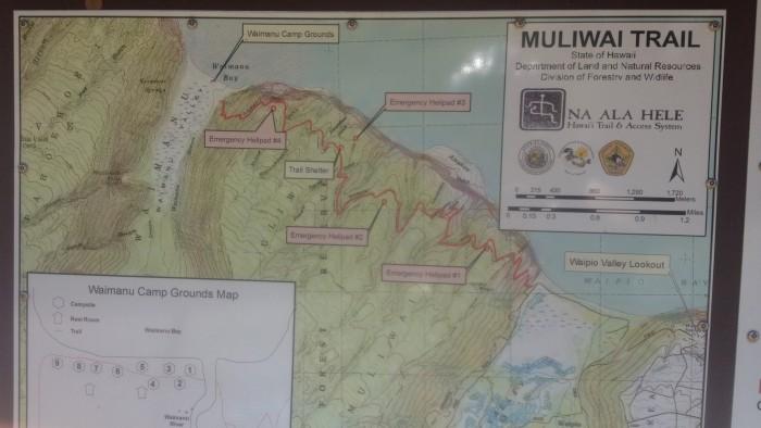 Waimanu Valley Hiking Map