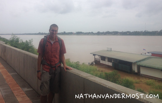 Walking along the banks of the Mekong river