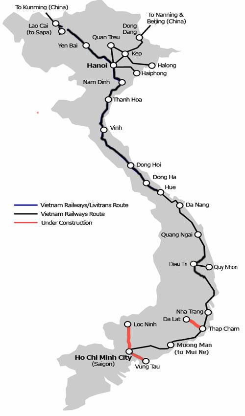 Vietnam Rail Map