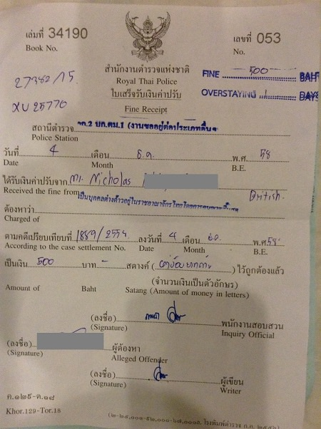 thailand overstay fine receipt for tourist visa
