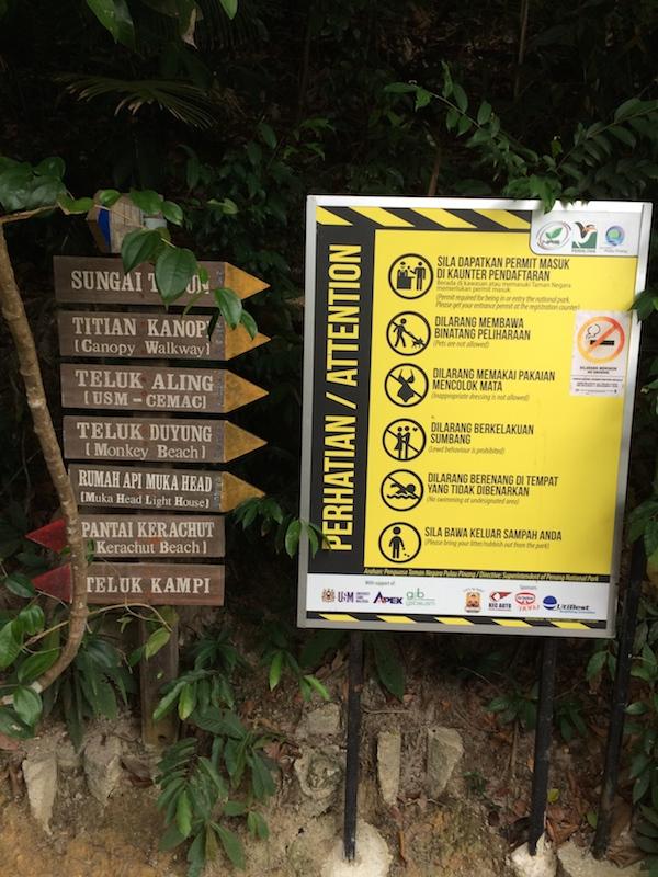 Penang-National-Park-Signs